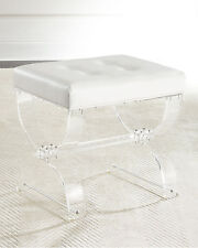 Horchow French Acrylic Lucite White Leather Vanity Seat Bench Ottoman $699 New!