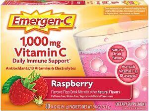 Emergen-C 1000mg Vitamin C Raspberry Flavor Powder - 30 Count