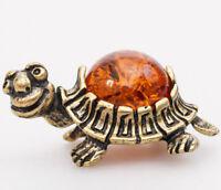 Turtle Miniature Handmade Brass & Natural Amber Figurine Tortoise Sculpture