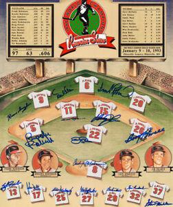 1966 Baltimore Orioles Auto World Series Champion Reunion Poster 16 Sigs PSADNA