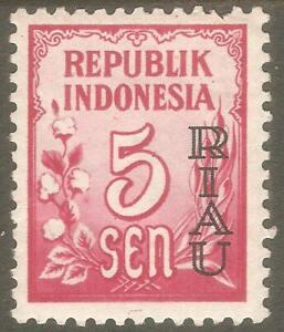 INDONESIA RIAU Sc# 1 MH F Flower Overprint