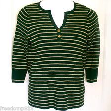 RALPH LAUREN Womens Black & Gold Horizontal Stripe Cotton Stretch Knit Top Sz 1X