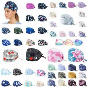 Surgical Scrub Cap Doctor Nurse Bouffant Hat Head Cover with Buttons Cotton AU