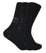 3 Pairs Mens Non Elastic Loose Wide Top Antibacterial Anti Sweat Bamboo Socks Black