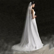 Single Layer 1T Floor Length Wedding Bridal Veil with Comb Veil for Brides