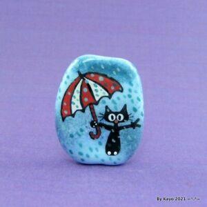 """THE RAIN MAN"" a handmade lampwork glass CAT pendant focal bead byKayo SRA"