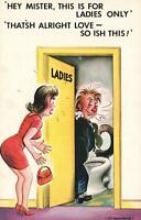 RUDE RISQUE COMIC BAMFORTH WOMAN CRANKY WITH MAN in WRONG TOILET POSTCARD - NEW