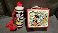 Walt Disney World & Mickey Mouse Plastic Lunchbox + Metal Bottle + Cover Vintage