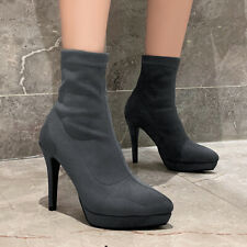 Women's Winter Mid-calf Sock Boots Pointed Toe Suede High Heel Slip on Booties