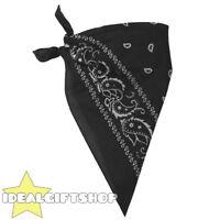 BLACK PAISLEY DESIGN BANDANA NECKERCHIEF COWBOY WESTERN FANCY DRESS ACCESSORY