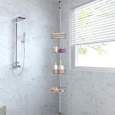 Telescopic Adjustable 4 Tier Shelf Wall Corner Polish Metal Bathroom Shower Rack