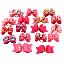 200 Wholesale Pink Girl Pet Hair Bows W/Rubber Bands For Dog Cat Puppy Grooming