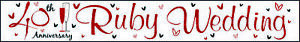 Party Banner Ruby Wedding 40th Anniversary - Decoration - Red/White - L 2.5 m