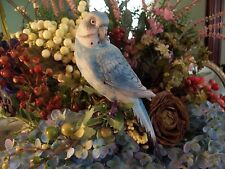 Vtg Japan Bisque Parakeet Budgie Bird Clip Antique Bird Cage Christmas Ornament