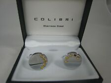 New Colibri Stainless Silver Gold Circle Cufflinks