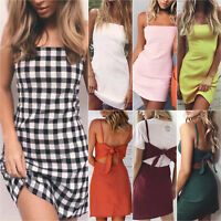 Women Sleeveless Strappy Bow Bodycon Summer Beach Holiday Party Short Mini Dress