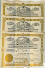 Squaw Peak Copper Mining Co > set of 3 1917 Arizona old stock certificates