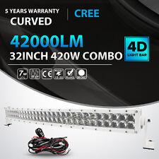 4D WHITE 32INCH 420W CURVED LED LIGHT BAR SPOT FLOOD OFFROAD DRIVING FOG LAMP 42
