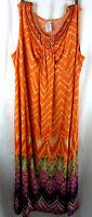 Just My Size JMS 3X 22W/24W Orange Beaded Maxi Dress Sleeveless Poly Stretch