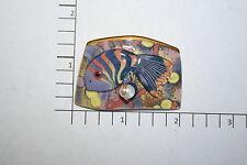 Brooch Pin - Tropical Fish Purple Yellow Orange Ceramic - Faux Pearl - Gold Tone