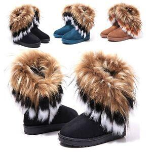 Fashion Women Girls Winter Warm Ankle Snow Boots Faux Rabbit Fur Tassel Shoes