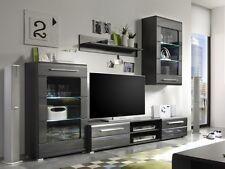 CHIP Wohnwand Anbauwand Schrankwand Wohnzimmermöbel Dekor Grau + LED Beleuchtung