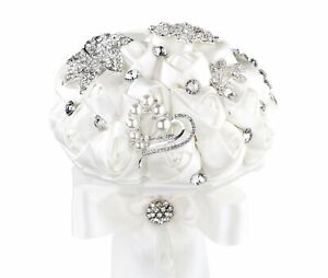 """Lillian Rose BQ250 Wedding Brooch Bouquet with White Satin Roses, 7"""" x 10"""" x 7"""""""