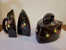 Vtg Occupied Japan Floral Redware Salt Pepper Sugar Iron Shaped 3pc Set
