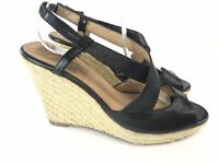 Jones Black Leather Peep Toes Wedge Summer Shoes Slingback Sandals UK8 EU41 VGC