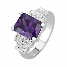 Amethyst Purple Cubic Zirconia CZ Sterling Silver Ring Size 9 FREE SHIP