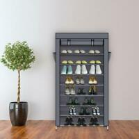 "10-tier 61""Shoe Rack with Dustproof Cover Closet Cabinet Storage Space Organizer"