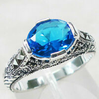 ADORABLE MARCASITE 3 CT BLUE TOPAZ 925 STERLING SILVER RING SIZE 5-10