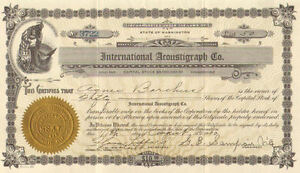 International Acoustigraph Co > 1930 Tacoma Washington share stock certificate