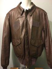 Vtg 40s WWII Style A-2 Leather Bomber Pilot Flight Jacket Mens XL Biker Coat USA