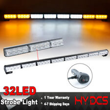 "35"" 32LED A White Amber Emergency Warning Traffic Advisor Flash Strobe Light Bar"