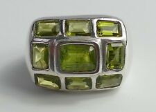 Ring 9 Peridots Modernist 925 Silber rhodiniert Vintage 80er Silver Ring