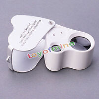 60X 30X Glass Magnifying Magnifier Jeweler Eye Jewelry Loupe Loop LED Lights