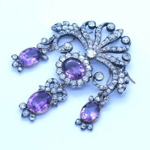 Georgian Style Brooch Pin Amethyst White Round Halo Bow Vintage Inspired Jewelry