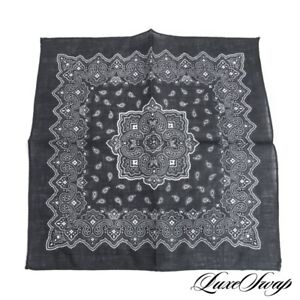 NWOT Made in Italy 100% Linen Black Bandana Paisley Hand Rolled Pocket Square NR