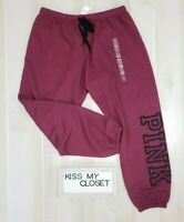 Victoria's Secret PINK Sweatpants Large Maroon Black Logo Classic Pants Women's