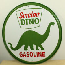 "Sinclair Dino Gasoline 12"" Round Vintage Style Metal Signs Dinosaur Oil Gas Pump"