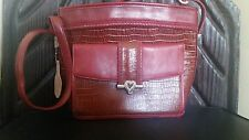 Genuine Leather Shoulder Purse Red Crocodile Style Pattern