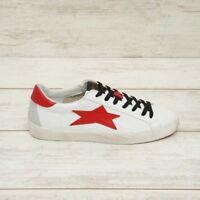 ISHIKAWA sneakers low uomo in pelle bianca stella rossa stringata inverno