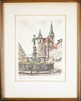 Hand Colored Vintage Print, Framed and Matted, Pencil Signed Original Engraving