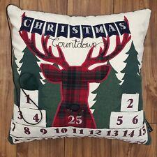 Christmas Countdown Down Pillow Large Pocket Advent Holiday Gift Xmas Home Decor
