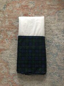 Rare Ralph Lauren Blackwatch Plaid Check Queen Bed Skirt Green Blue EUC
