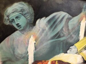 Vintage 1970 Surreal Oil Painting Signed Gothic Macabre Pope Religious Art