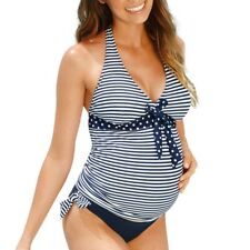 Maternity Tankinis Ladies Stripe Print Bikinis Swimsuit Beachwear Pregnant Sets