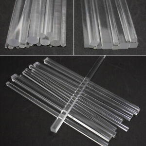 Plastic Clear Acrylic Square Rod Bar Round Rod Circular Bar 100/200/300mm Length