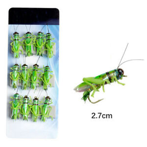 Fly Fishing Baits Grasshopper Flies 12Pcs Floating Water Artificial Insect Lures